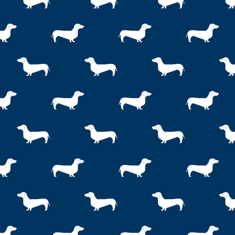navy blue dachshund silhouette fabric doxie design dachshunds fabric  fabric by petfriendly on Spoonflower - custom fabric