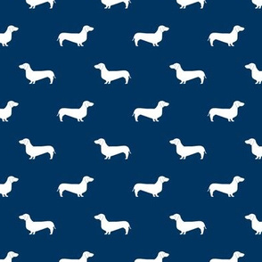 navy blue dachshund silhouette fabric doxie design dachshunds fabric