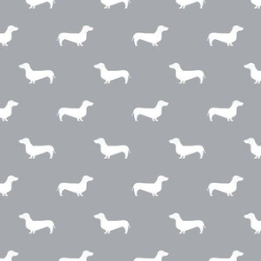quarry grey dachshund silhouette fabric doxie design dachshunds fabric