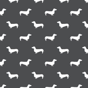 shadow grey dachshund silhouette fabric doxie design dachshunds fabric