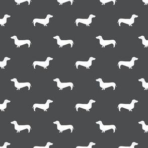 shadow grey dachshund silhouette fabric doxie design dachshunds fabric