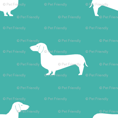 turquoise dachshund silhouette fabric doxie design dachshunds fabric