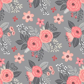Vintage Antique Floral Flowers Peach on Grey  Smaller