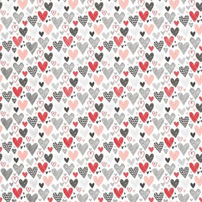 Hearts Geometrical Love Valentine Black&White Red Pink Very Tiny Small