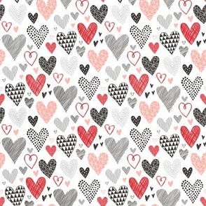 Hearts Geometrical Love Valentine Black&White Red Pink Small Tiny