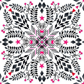 Winter Graphic Folk Art Pattern