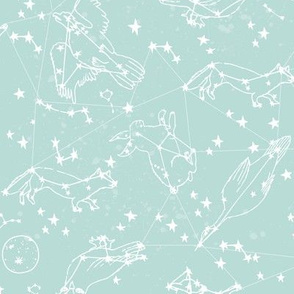 constellations // soft aqua pastel baby nursery blue cute constellations fabric for baby