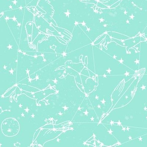 constellations // bright mint constellation fabric nursery baby mint fabric andrea lauren