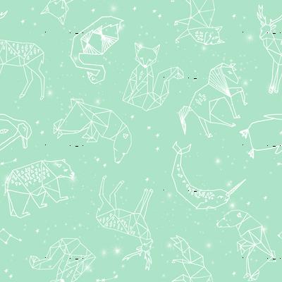 constellations // mint baby nursery design animals fabric print andrea lauren design