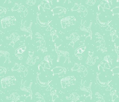constellations // mint baby nursery design animals fabric print andrea lauren design fabric by andrea_lauren on Spoonflower - custom fabric