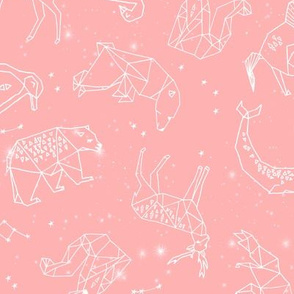 constellations // geometric nursery animals fabric pink nursery design