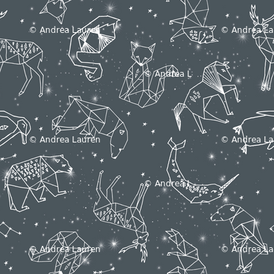 constellations // charcoal geometric animals constellations fabric nursery baby animals design