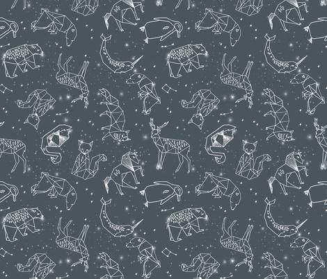 constellations // charcoal geometric animals constellations fabric nursery baby animals design fabric by andrea_lauren on Spoonflower - custom fabric