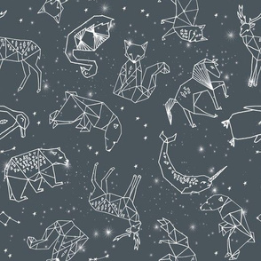 constellations // charcoal geometric animals constellations fabric nursery baby animals design