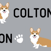 corgi custom name fabric contact petfriendlydesigns@gmail.com