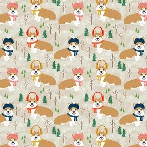 corgi snow day fabric winter dog design corgi fabric
