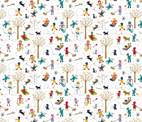 Fun at the park on a snow day fabric by heleen_vd_thillart on Spoonflower - custom fabric