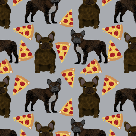 french bulldog pizza fabric brindle fabric pizzas frenchie dog fabric by petfriendly on Spoonflower - custom fabric