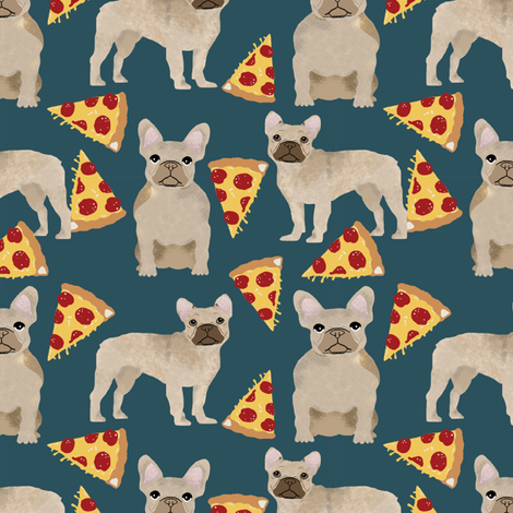 french bulldog pizza fabric fawn frenchie pizzas frenchie dog fabric by petfriendly on Spoonflower - custom fabric
