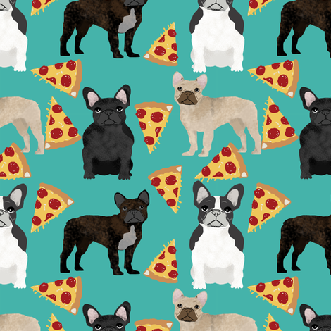 french bulldog pizza fabric fawn, brindle, black and white french bulldogs,  frenchie pizzas frenchie dog fabric by petfriendly on Spoonflower - custom fabric