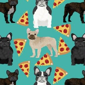 french bulldog pizza fabric fawn, brindle, black and white french bulldogs,  frenchie pizzas frenchie dog