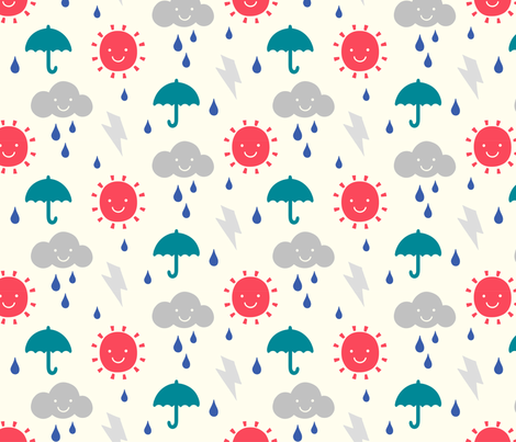 Happy weather nursery fabric phirefly print spoonflower for Nursery print fabric