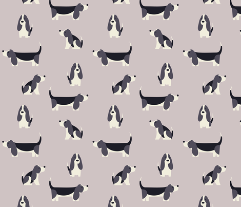Winter Basset Hounds fabric by phirefly_print on Spoonflower - custom fabric