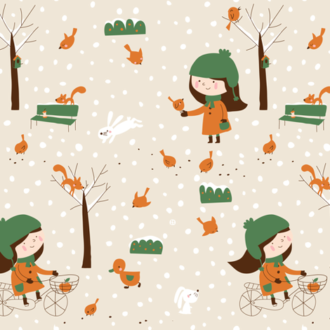 Don't forget the birds fabric by bora on Spoonflower - custom fabric