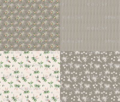 "Rustic Wedding 42"" Fat Quarters Taupe_Miss Chiff Designs"