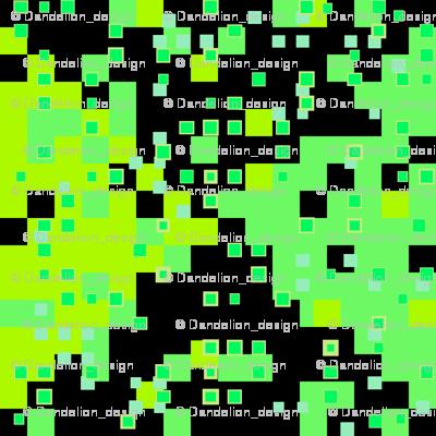 tiny squares greens on white