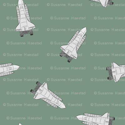 Space shuttle on green fabric susiprint spoonflower for Space shuttle quilt