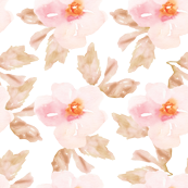 Simple Pink and Brown Watercolor Flower Pattern