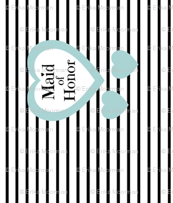 Maid of Honor - vertical black stripe blue hearts