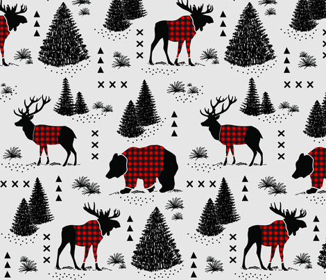 12 inch - Bear, deer and moose - buffalo plaid and forest - grey background fabric by howjoyful on Spoonflower - custom fabric