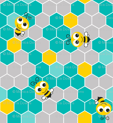 Honeycomb_Pattern_Small_with_Bees_Teal_Gray