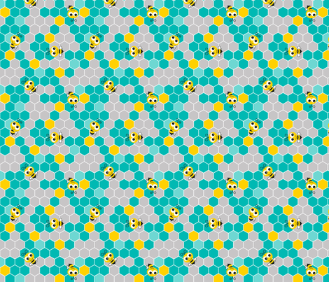 Honeycomb_Pattern_Small_with_Bees_Teal_Gray fabric by monicadowns on Spoonflower - custom fabric