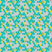Honeycomb_pattern_small_with_bees_teal_gray.2_shop_thumb