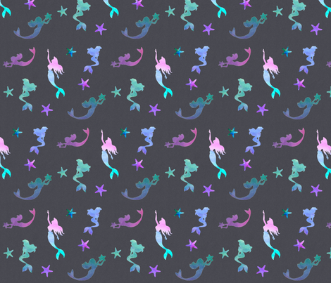 Watercolor Mermaids fabric by new_earth_baby on Spoonflower - custom fabric