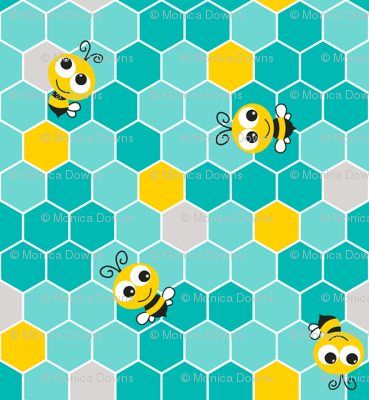 Honeycomb Pattern Small with Bees Teal on Teal