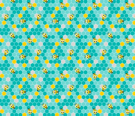 Honeycomb_pattern_small_with_bees_teal_on_teal.2_shop_preview