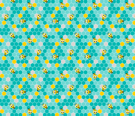 Honeycomb Pattern Small with Bees Teal on Teal fabric by monicadowns on Spoonflower - custom fabric