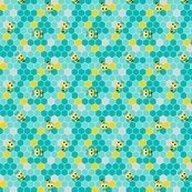 Honeycomb_pattern_small_with_bees_teal_on_teal.2_shop_thumb