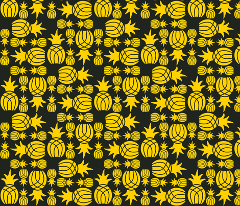 Pineapple_Weave_Sqaure_Yellow_on_Black fabric by monicadowns on Spoonflower - custom fabric
