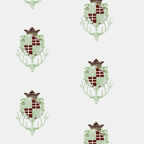 deer crown crest in white and celery