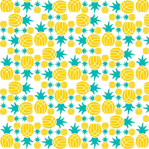 Pineapple Weave Yellow and Teal on White