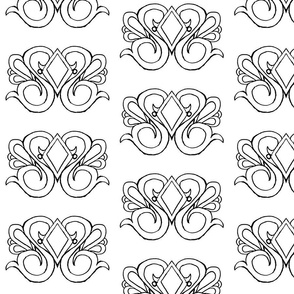 Diamond Swirl Damask- Coloring Version