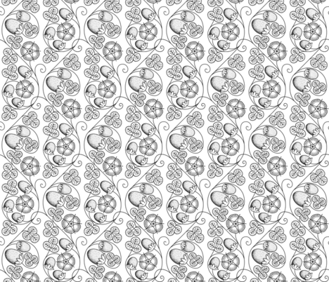 Scrolling Blackwork Embroidery Strawberries fabric by sidney_eileen on Spoonflower - custom fabric