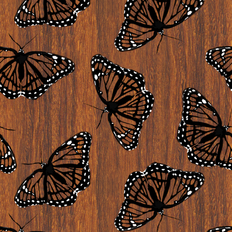 Viceroy Butterflies Camouflaged on Teak fabric by eclectic_house on Spoonflower - custom fabric
