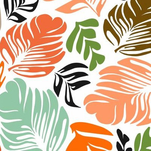 Tropical Leaves Orange & Green