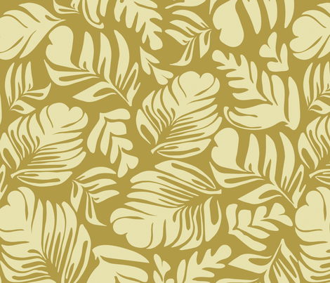 Tropical Leaves Beige fabric by kirstenkatz on Spoonflower - custom fabric